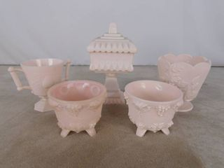 Pink colored 6 piece assorted milk glassware including standing candy dish with lid  2 bowls and sugar bowl  unknown name