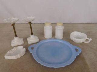 Assorted milk glassware including blue platter  2 candle holder  salt and pepper shaker and bar soap holder  unknown name