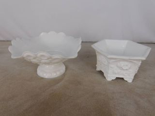 2 assorted milk glass bowls  unknown name