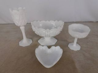 4 piece assorted milk glassware including 3 standing bowls and one heart shaped bowl   unknown name