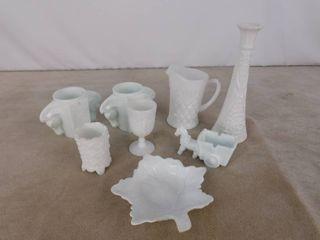 8 piece assorted mint green milk glassware  unknown name