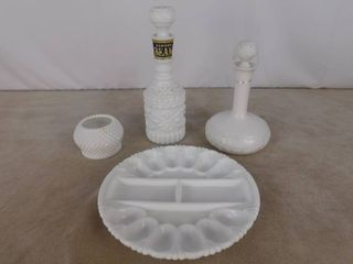 6 piece assorted milk glassware including deviled egg holder  2 decanters and a bowl  unknown name