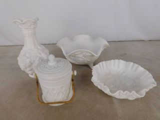 5 piece assorted milk glassware including a vase  container with lid and 2 bowls  unknown name