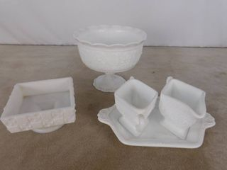 5 piece assorted milk glassware including standing bowl  sugar bowls on a glass plate and candy dish without a lid  unknown name