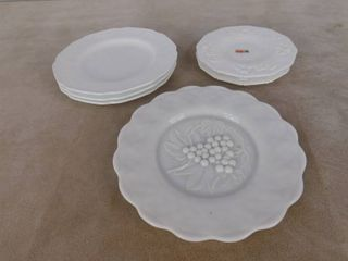 large grape paneled milk glass plate 10 1 2 in dia  unknown name  3 medium grape paneled milk glass plates 10 in dia  unknown name and 2 authentic Fostoria grape paneled milk glass plates 8 in dia