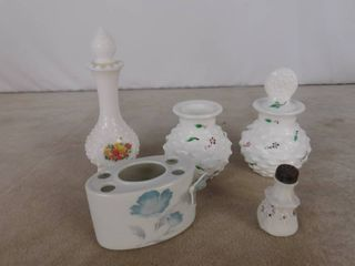 6 piece assorted decorative milk glassware including a toothbrush holder  2 sugar bowls one with missing lid and liquid vase with lid  unknown name