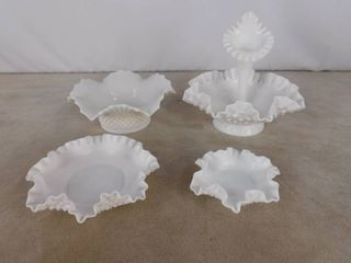 5 piece matching milk glass bowl set with ruffle top  unknown name