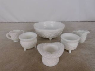 6 piece assorted milk glass including 3 bowls  creamer and sugar bowl and hat  unknown name