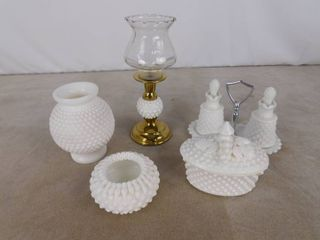 8 piece assorted milk glass including 2 cruet bottles on stand  candy bowl with lid  candle stick holder and 2 vases