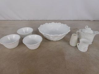 10 piece assorted milk glass including large leaf paneled bowl  corn paneled vase  3 basket woven paneled bowls  and 2 candy dishes with lids