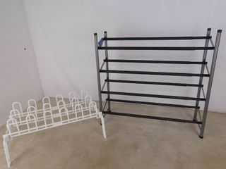 Metal shoe rack 27 in H X 9 in D X 24 in l and a plastic shoe rack 10 in H X 23 in W X 16 in D