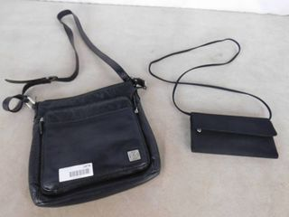 lot of 2 black shoulder bags  one mini  one large