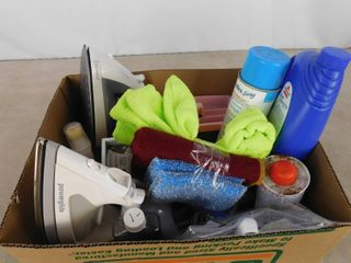 lot of houseware including 2 irons  sponges  carpet cleaner and a bounce dryer bar