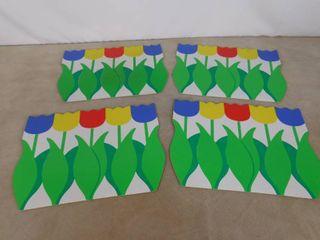 4 tulip design placemats
