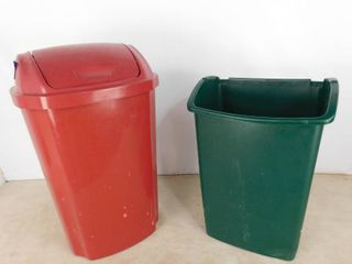 2 in home trash bins burgundy one has swinging lid and is 27 in H  green one is missing swinging lid and is 22 in H