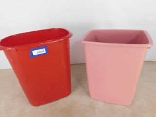 2 in home trash bins red one is 19 in H  pink one is 18 in H