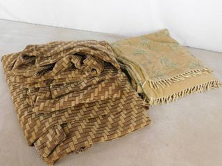 2 curtain panels 50 in l X 84 in H and small amber colored blanket