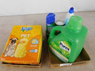 lot of Swiffer pet dusters and assorted cleaning supplies