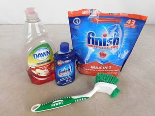 lot of dish cleaning supplies