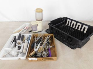 lot of dish drying rack  silverware organizer  Braun mini food processor and various kitchen utensils