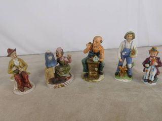 Assorted glass figurines including man with squirrel  watch maker  woman sewing and 2 hobo s drinking