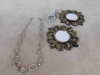 2 matching decorative hanging wall mirrors and misc  jewelry