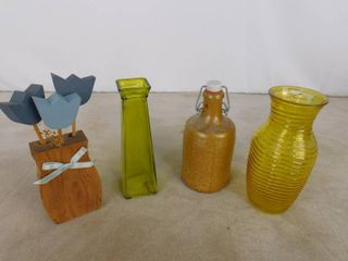 lot of 4 assorted home decor vases