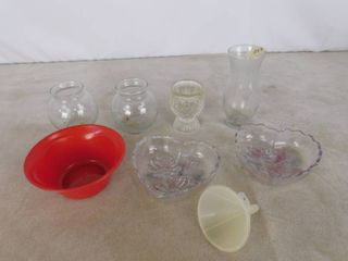 lot of 6 home decor glass vases and bowls