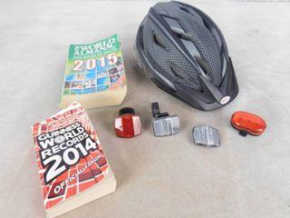 2015 World Almanac  2014 Guinness world record book and bike helmet