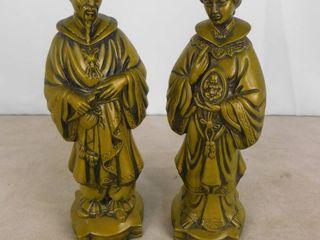 2 Oriental ceramic statues 15 1 2 in H