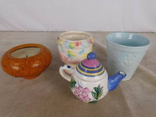 2 vases  one candle and one teapot
