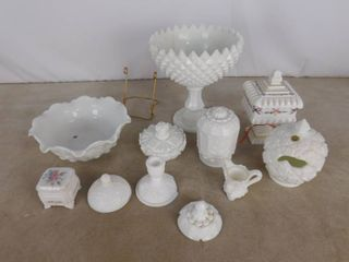 Assorted broken or repaired milk glass 6  Westmoreland  1  Imperial  5  unknown name