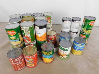 lot of assorted canned goods