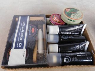 lot of shoe polish and shoe care supplies