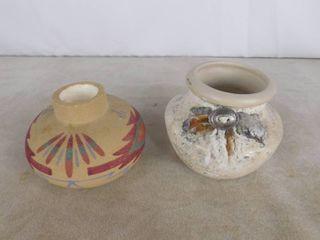 2 Native American handmade vases