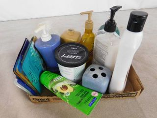 lot of misc  lotions and lotion dispensers and face masks