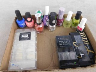 lot of nail care and one set of faux eyelashes