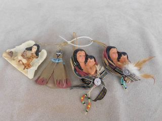 lot of 5 assorted Native American Christmas tree ornaments