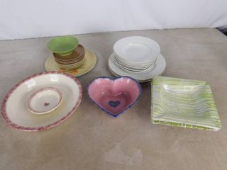 lot of misc  bowls and 2 matching ashtrays