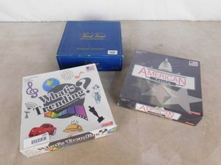 3 board games  What s Trending  Trivial Pursuit and American Trivia