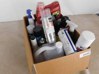 lot of various types of spray paint  disinfectant spray  motor oil and tire cleaner  amounts vary