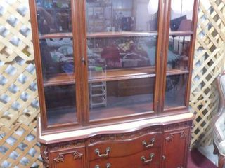 2  piece wooden china cabinet with glass doors  lower half appears to have been sanded on top  50 in W X 71 in H X 16 in D