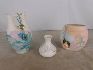 3 assorted decorative Native American clay pottery vases  tallest one has been repaired