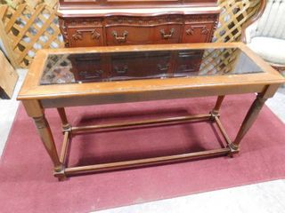 Sofa table W  glass top  47 in W x 16 1 2 in l x 29 1 2 in H