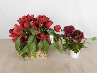 large lot of assorted plastic decorative flowers in different style holders