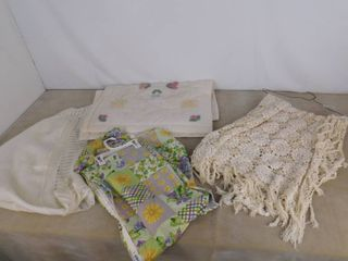 Crocheted lace table cloth  2 pillow cases and window curtain set