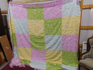 Pastel colored bedspread 108 in X 97 in