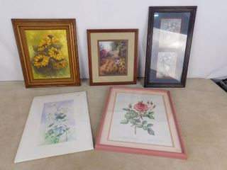 lot of 5 floral hanging wall decor