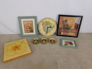 lot of 8 assorted hanging wall decor including portraits  paintings and a clock