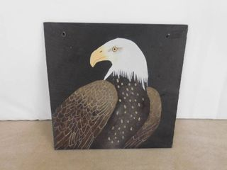 Heavy tile hand painted eagle 12 in X 12 in